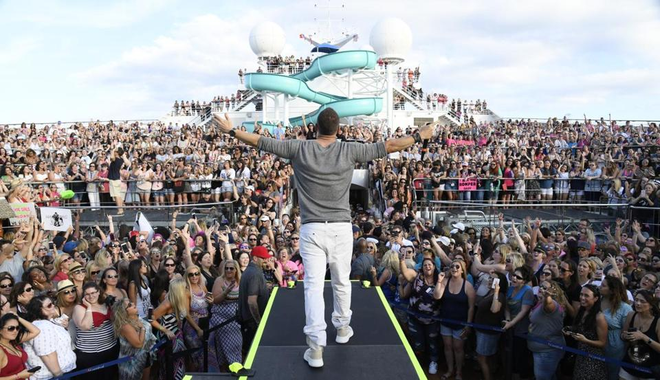 Donnie Wahlberg greets a throng of adoring fans aboard the 2017 New Kids on the Block Cruise.